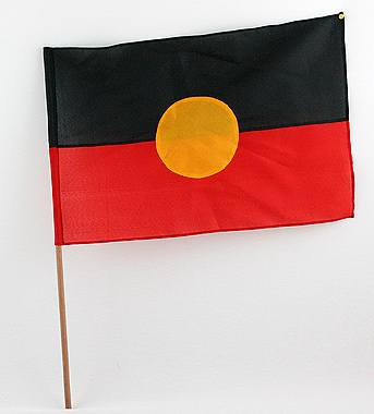 Aboriginal Flagge 30cm x 20cm und 60cm x 30cm, Artikelnummer: flag01