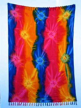 Sarong - Batik abstrakt - rainbow - Material: Rayon - ca. 1,10m x 1,7m, Artikelnummer: 73012b