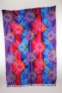 Sarong - Batik abstrakt - lila pink blau - Material: Rayon - ca. 1,10m x 1,7m, Artikelnummer: 73012g