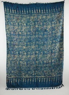 Sarong - exklusiver Batik Druck Muschel - blau/creme - Material: Rayon 1. Wahl - ca. 1,10m x 1,7m, Artikelnummer: 73039a