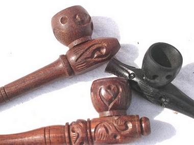 Purpfeife Holz - inklusive 5 Messingsiebe, Artikelnummer: 52006
