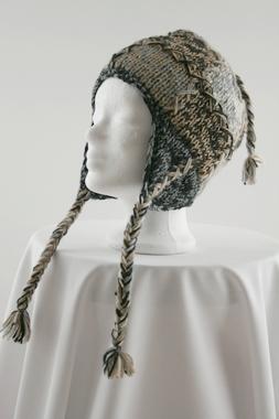 Patch Wollmütze mit Ohrklappen - 100% Schafswolle - handgestrickt, Artikelnummer: 41021