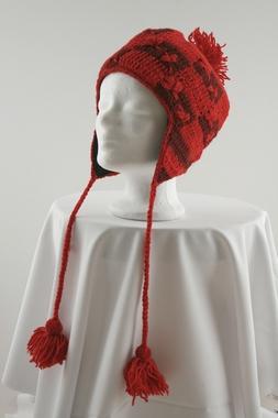 Wollmütze mit Bommel und Ohrklappen - 100% Schafswolle - handgestrickt, Artikelnummer: 41027