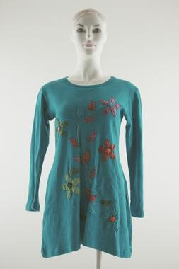T-Shirtkleid mit Blumenstickereien - 100% Baumwolle, Artikelnummer: 30043