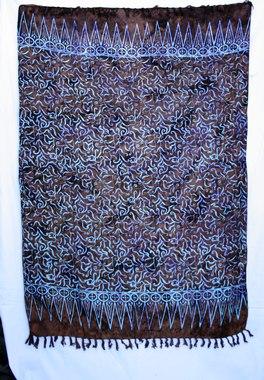 Sarong - exklusiver Batik Druck Ranke braun/blau - Material: Rayon 1. Wahl - ca. 1,10m x 1,7m, Artikelnummer: 73049a