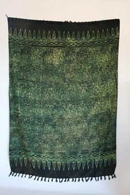 Sarong - exklusiver Batik Druck - grün/schwarz - Material: Rayon 1. Wahl - ca. 1,10m x 1,7m, Artikelnummer: 73036