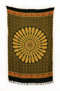 Sarong - Batik Mandala gelb - Material: Rayon - ca. 1,10m x 1,7m, Artikelnummer: 73011d