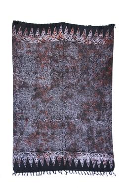 Sarong - exklusiver Batik Druck - Spirale/Dot schwarz - Material: Rayon 1. Wahl - ca. 1,10m x 1,7m, Artikelnummer: 73056a