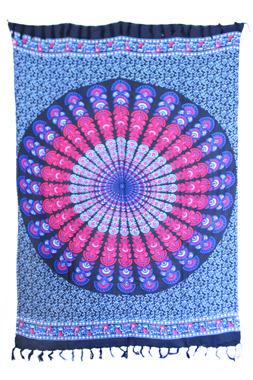 Sarong - Batik Mandala pink/blau - Material: Rayon - ca. 1,10m x 1,7m, Artikelnummer: 73011h