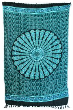 Sarong - Batik Mandala türkis/orange - Material: Rayon - ca. 1,10m x 1,7m, Artikelnummer: 73011a