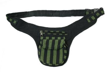 Gürtel- oder Hüfttasche - gestreift - grün/schwarz, Artikelnummer: 44005